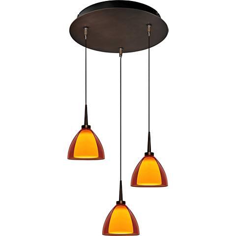 "Rainbow 4 1/2"" Wide Orange Glass LED Mini Pendant"