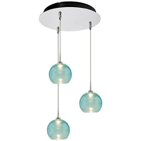 "Bobo 6"" Wide Aqua Glass LED Multi Light Pendant"