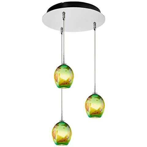 """Bolero 4 1/2"""" Wide Seafoam Glass LED Multi Light Pendant"""