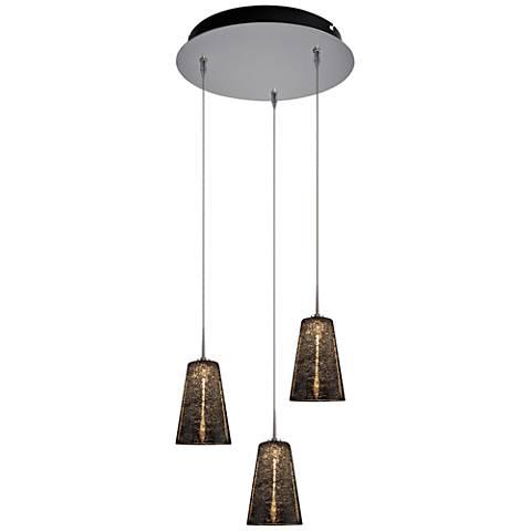 """Bling 4 3/4"""" Wide Black Glass LED Multi Light Pendant"""