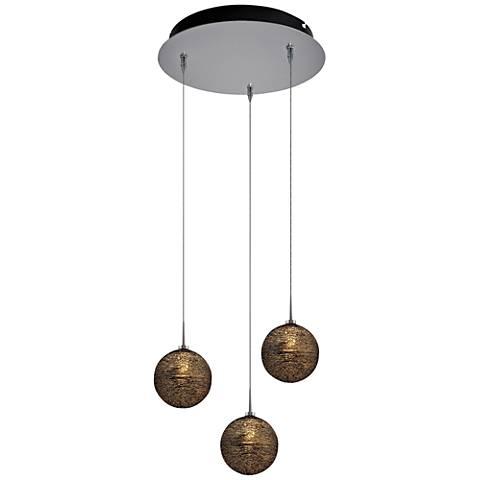 "Dazzle 6"" Wide Black Glass LED Multi Light Pendant"