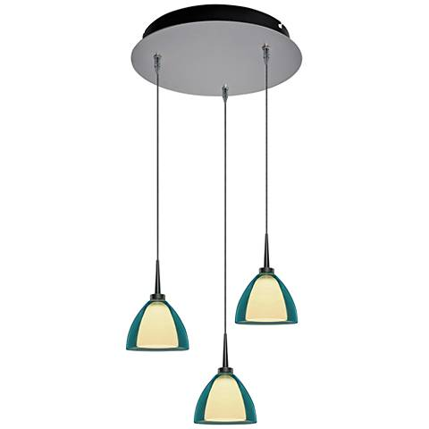 "Rainbow 4 1/2"" Wide Turquoise Glass LED Multi Light Pendant"