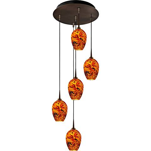 "Bolero 4 1/2"" Wide Autumn Leaf Glass LED Mini Pendant"