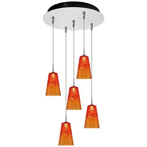 """Bling 4 3/4"""" Wide Sunrise Glass LED Multi Light Pendant"""
