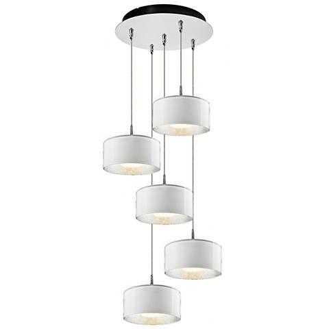 "Cantara 7 1/2"" Wide White Glass LED Multi Light Pendant"