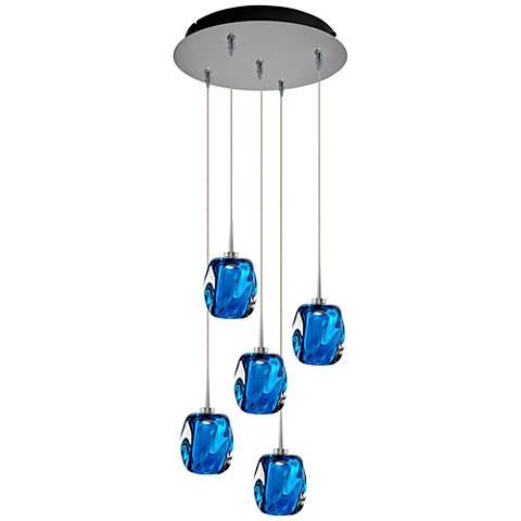 "Aurora 4 1/2"" Wide Blue Glass LED Multi Light Pendant"