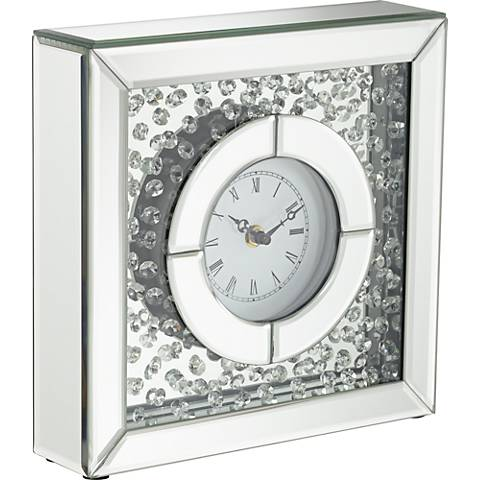 "Claudyn Glass Mirror Crystal 10"" High Square Tabletop Clock"