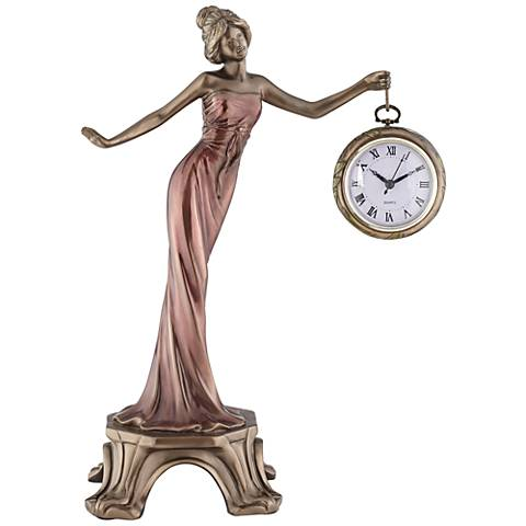 """17 1/2"""" Lady with Clock Statue"""