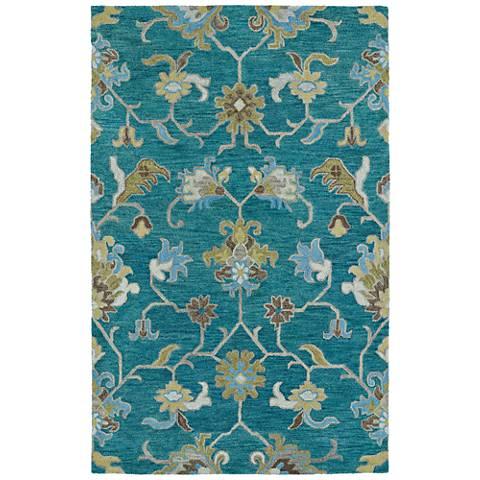 Kaleen Helena 3209-78 Turquoise Wool Area Rug