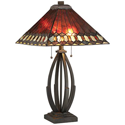 Lite Source Hadria Dark Bronze Tiffany-Style Table Lamp