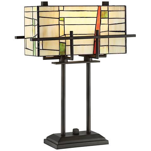 Lite Source Mansur Dark Bronze Tiffany-Style Table Lamp