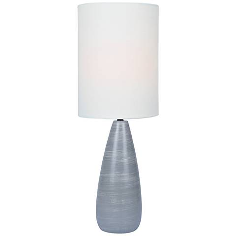 """Quatro 26 1/2""""H Gray Modern Table Lamp with White Shade"""