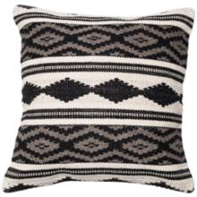 "Urban Boho Gray and White Tribal 22"" Square Accent Pillow"