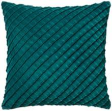 "New Classics Teal 22"" Square Crosshatch Velvet Throw Pillow"
