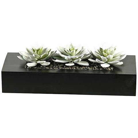 """Snow Look Echeveria Succulents 14"""" Wide Faux Plant"""
