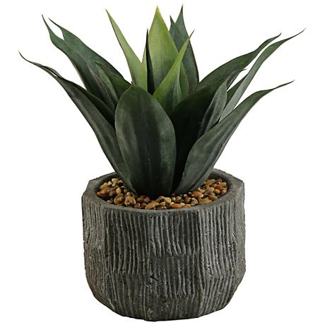 """Red and Green Agave 13"""" High Faux Plant"""