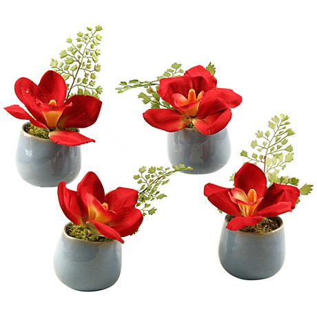 "Dark Red Cymbidium Orchids 5"" High Faux Flowers Set of 4"