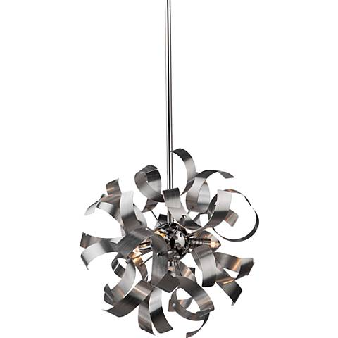 "Belair 12 1/2""W Leafy Brushed Nickel 3-Light Pendant"