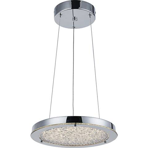 "Stardust 12 1/4""W Chrome and Crystal LED Pendant Light"