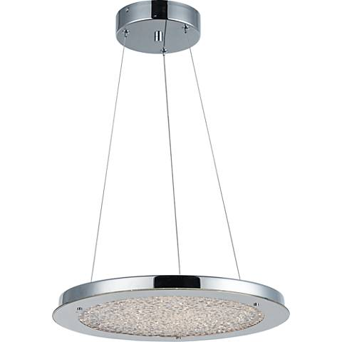 "Stardust 16""W Chrome and Crystal LED Pendant Light"