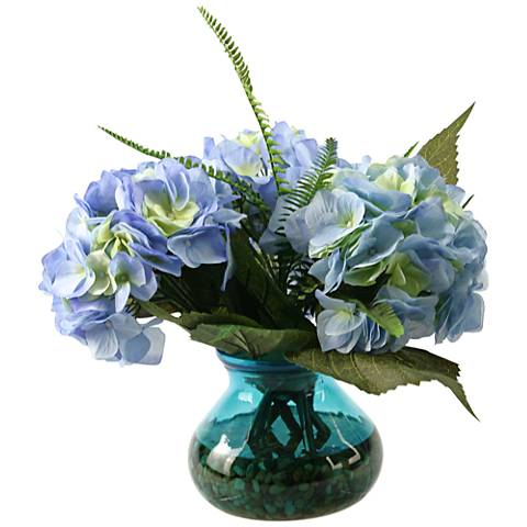 "Blue Hydrangeas and Queen Anne Lace 14""W Faux Flowers"