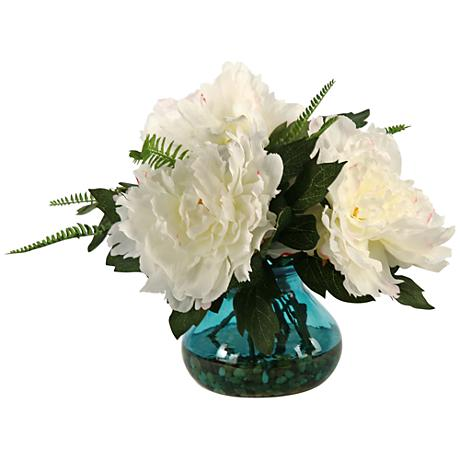 """Cream and Pink Peonies 14""""W Faux Flowers in Garden Vase"""