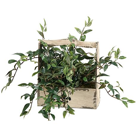 """Japanese Hanging Bamboo 25""""W Faux Plant in Wooden Basket"""