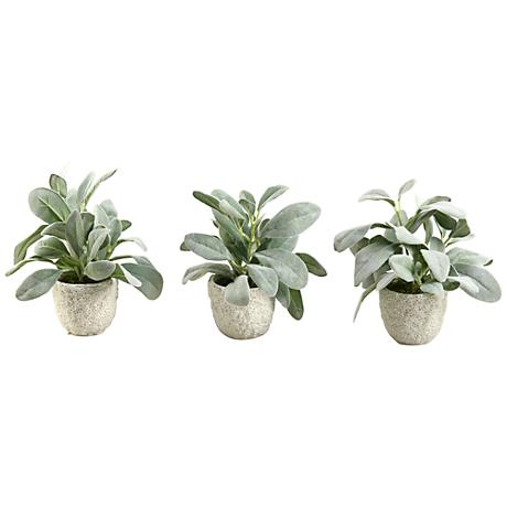 Frosted Lamb S Ear 9 Quot High Faux Plant In Pot Set Of 3