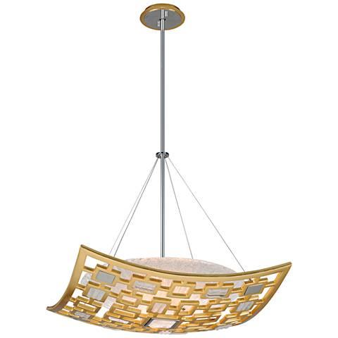 "Corbett Motif 26"" Wide Gold Leaf Pendant Light"