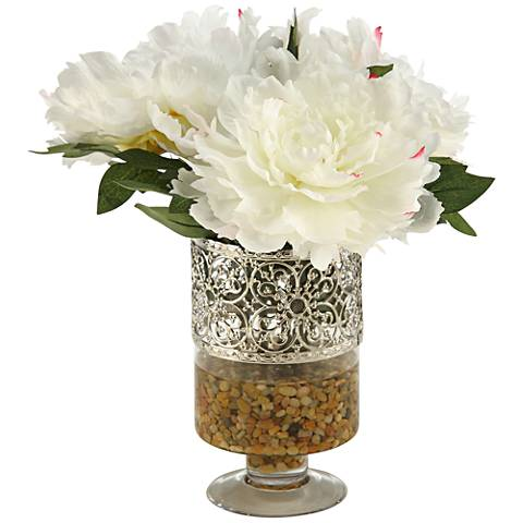 "Cream and Pink Peonies 14 1/2""H Faux Flowers in Vase"