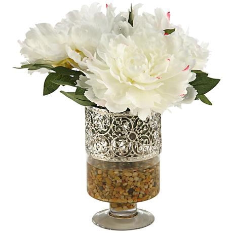 """Cream and Pink Peonies 14 1/2""""H Faux Flowers in Vase"""
