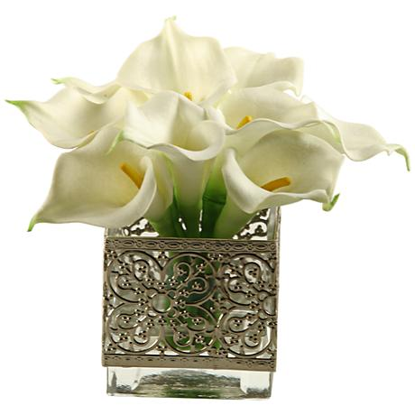 """White Calla Lilies 8"""" High Faux Flowers in Glass Cube"""