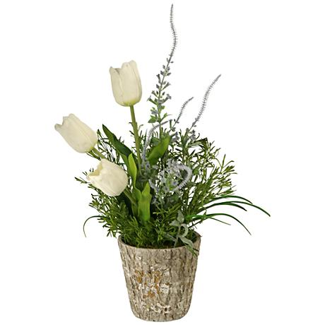 """White Dutch Tulips and Lavender 30""""H Faux Flowers"""