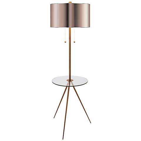 Becky Fletcher Largent Brass Tripod Tray Table Floor Lamp