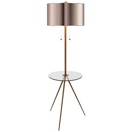 Becky Fletcher Largent Brass Tripod Tray Table Floor Lamp