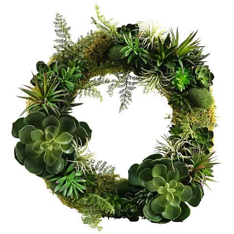 "Mixed Succulents 21"" Wide Faux Plant Wreath"