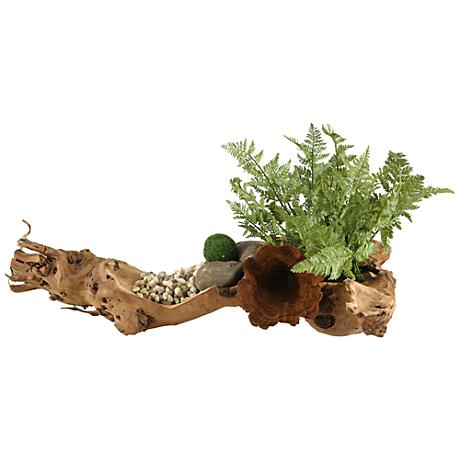 """Small Forest Fern 20""""W Faux Plant in Wooden Log"""