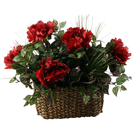 "Deep Wine Peonies 30""W Faux Flowers in Basket"
