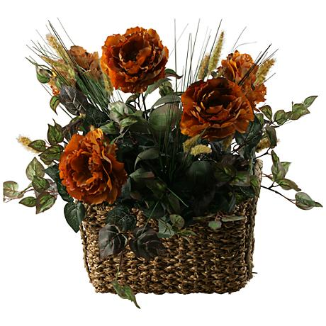 """Caramel Brown Peonies 28"""" Wide Faux Flowers in Basket"""