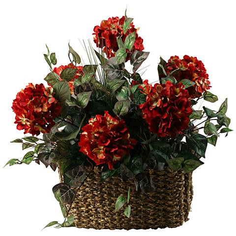 "Red Hydrangeas 27""W Faux Flowers in Basket"