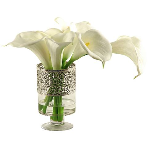 """White Calla Lilies 18""""W Faux Flowers in Glass Vase"""