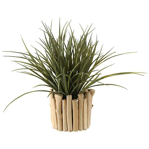 "Wild Grass 16""W Faux Plant in Wood and Glass Planter"
