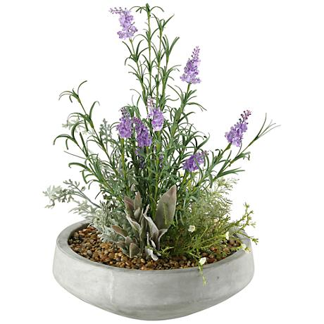 "Lavender and Mixed Herbs 21""H Faux Plant in Bowl"