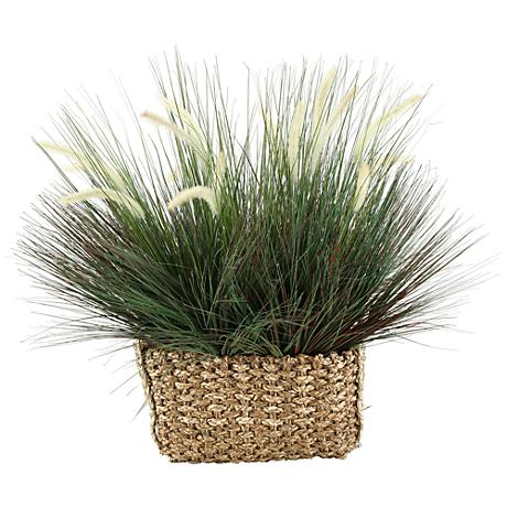 """Onion Grass with Dogstail 32""""W Faux Plant in Basket"""
