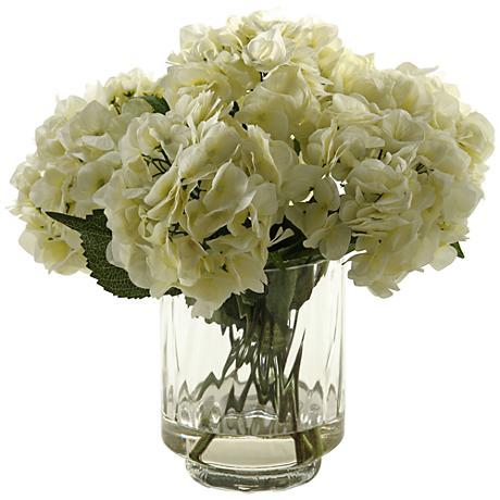 "Cream Hydrangeas 17 1/2""H Faux Flowers in Glass Vase"