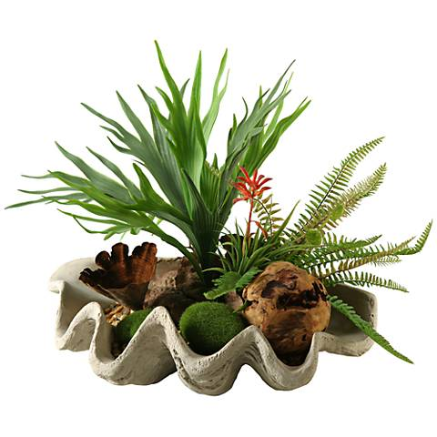 "Staghorn Fern and Succulents 19""W Faux Plant"