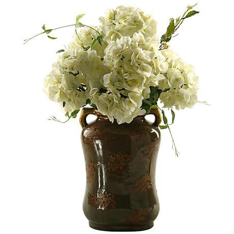 """Cream Hydrangeas 31""""H Faux Flowers in Ceramic Vase"""