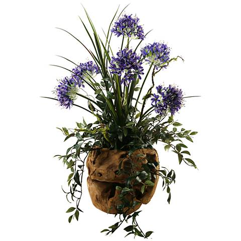 "Blue Agapanthus 36""H Faux Plant in Ball-Shaped Planter"