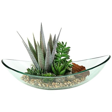 """Mixed Aloe and Succulents 22""""W Faux Plant in Glass Bowl"""