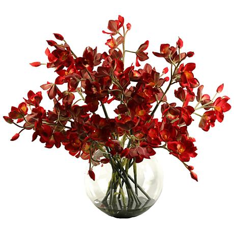 """Cherry Red Cymbidium Orchids 33""""H Faux Flowers"""